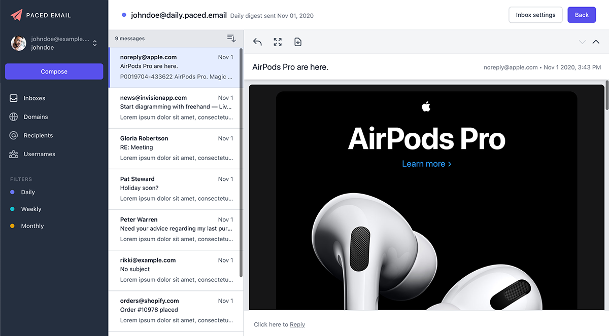 Online digest inbox view with reply, download and popout capabilities