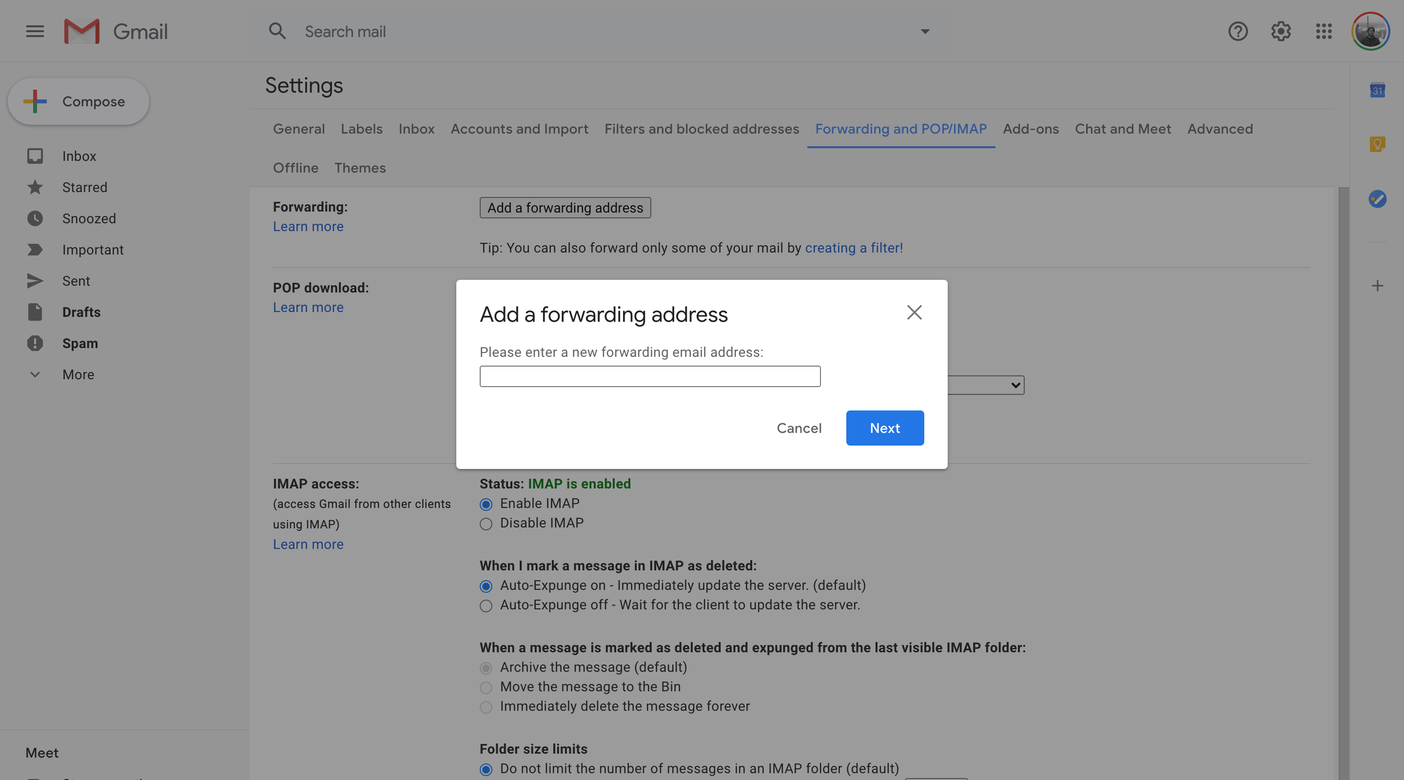 Gmail add forwarding address modal