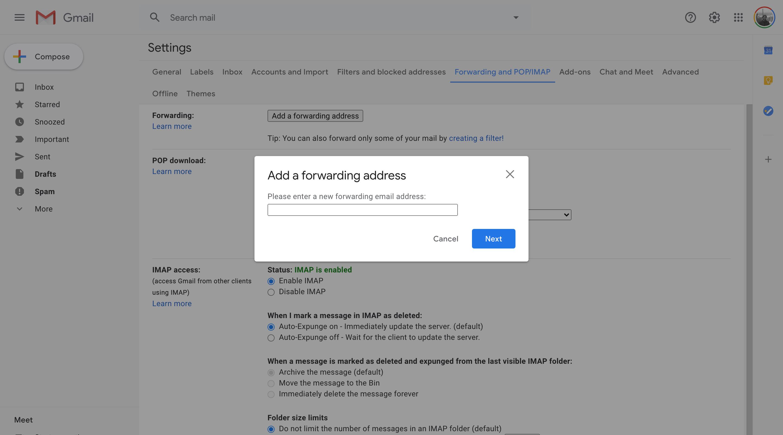 Gmail add forwarding address modal