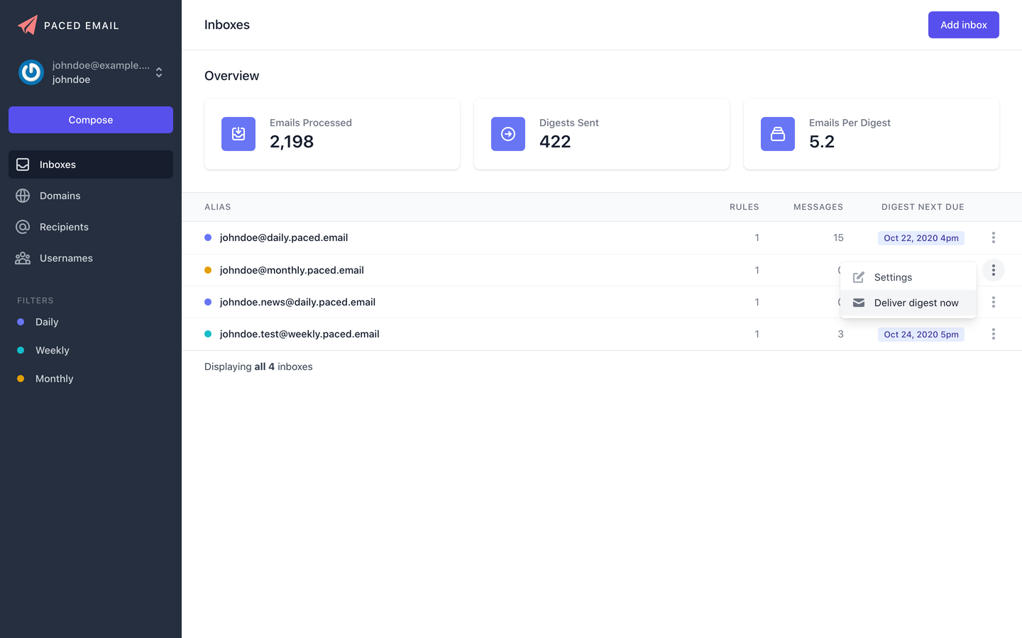 New and improved Paced Email platform UI