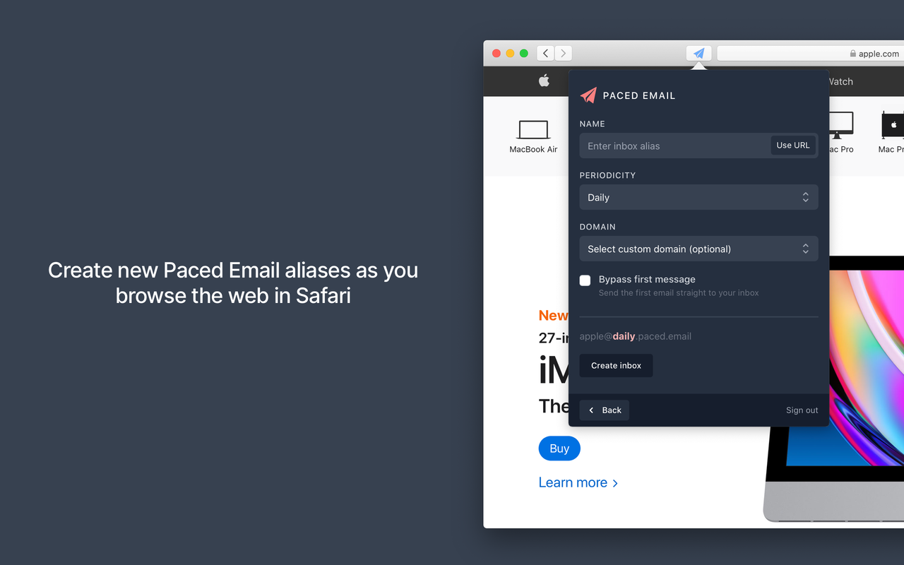 Paced Email web extension for Safari on macOS