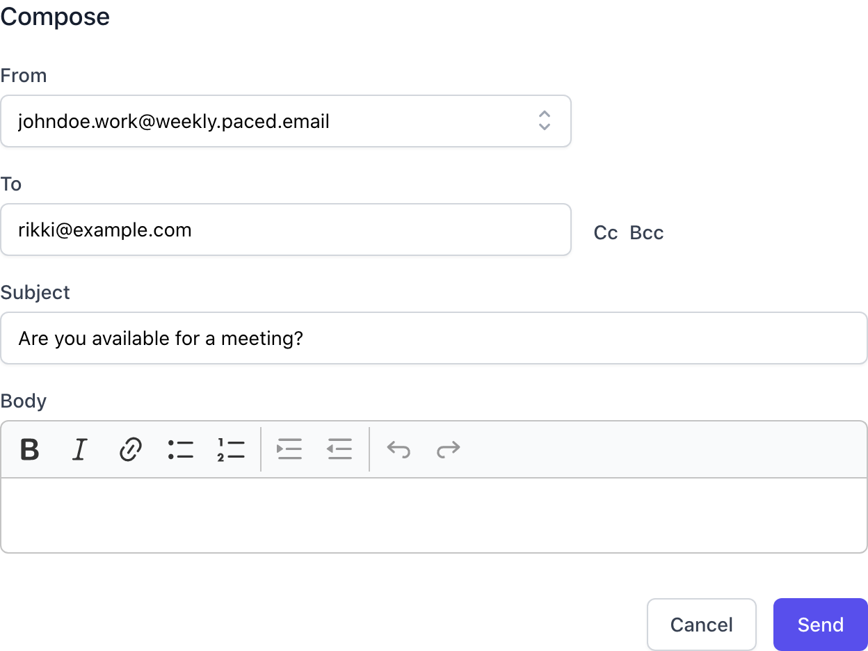 Send email directly from the product using the compose and reply features