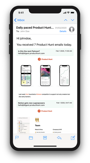 Example email inbox view on an iPhone device demonstrating a Paced email digest
