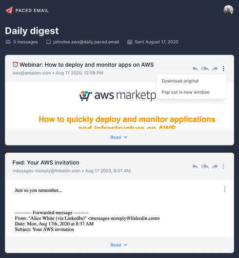 Platform view of the digest inbox showing several emails that can be replied to, forwarded or downloaded as an eml file.