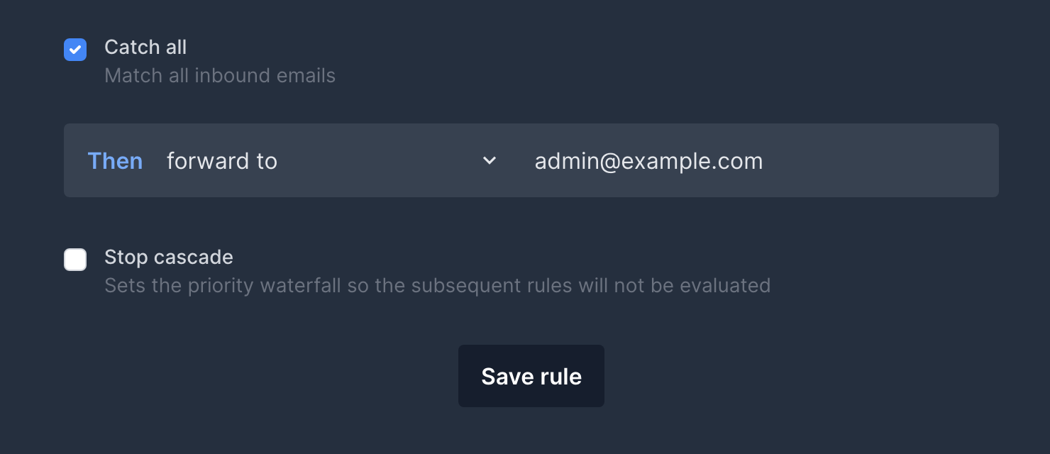 Catch-all setting activated for a custom email triage rule