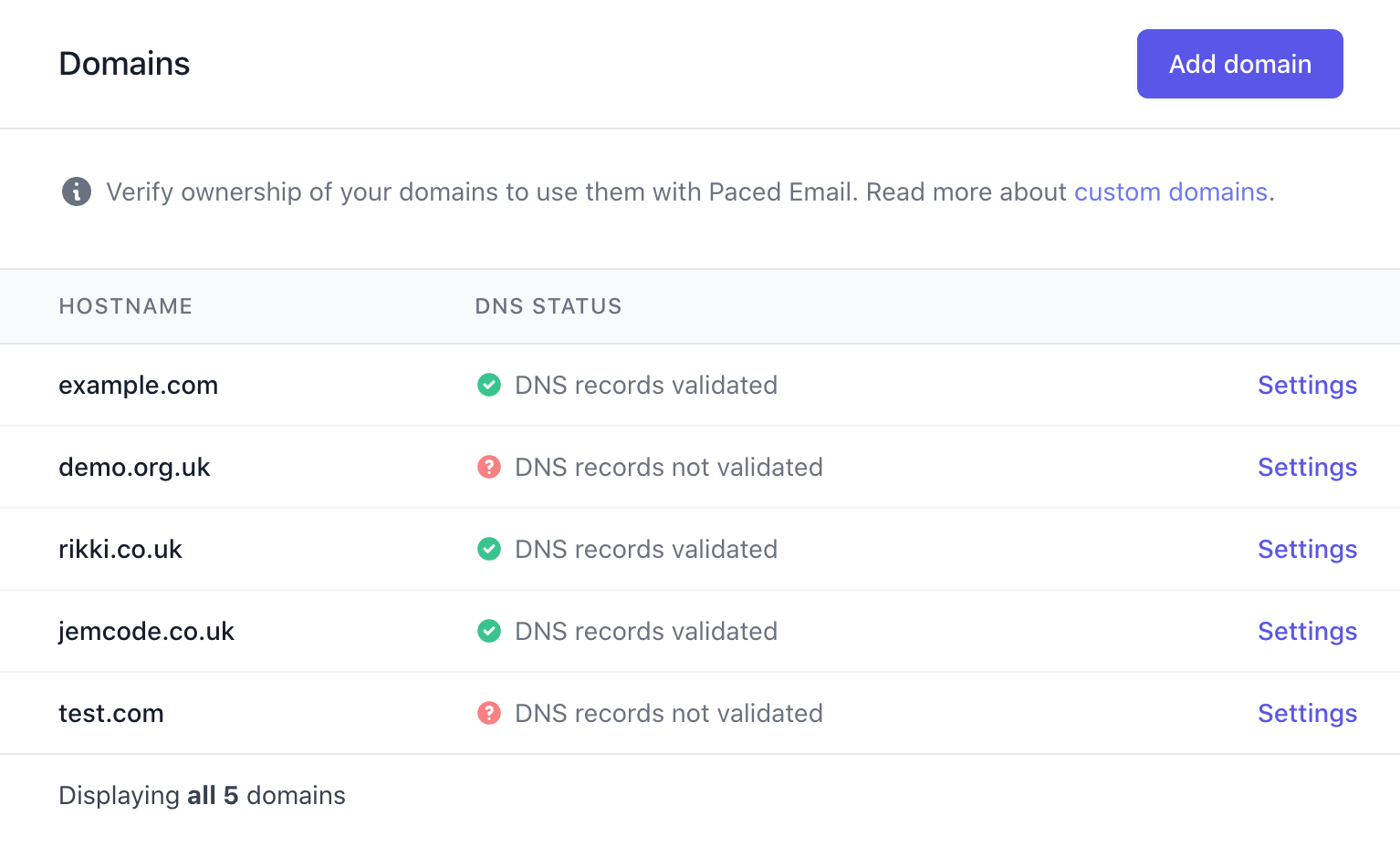 Add your domains to personalise your temporary email addresses